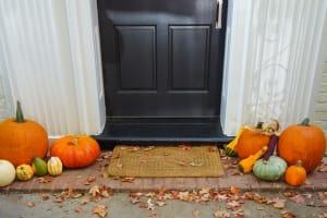 October Door and Pumpkins