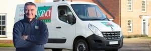 Agency Express franchise case study. Franchisee John Burke with van.