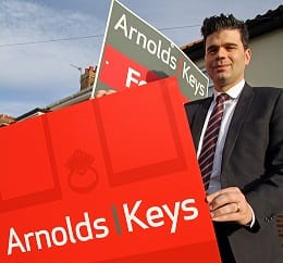 Darren Neave puts up the first new-style Arnolds Keys For Sale board