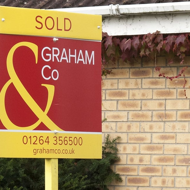 Sold estate agency board - Property activity