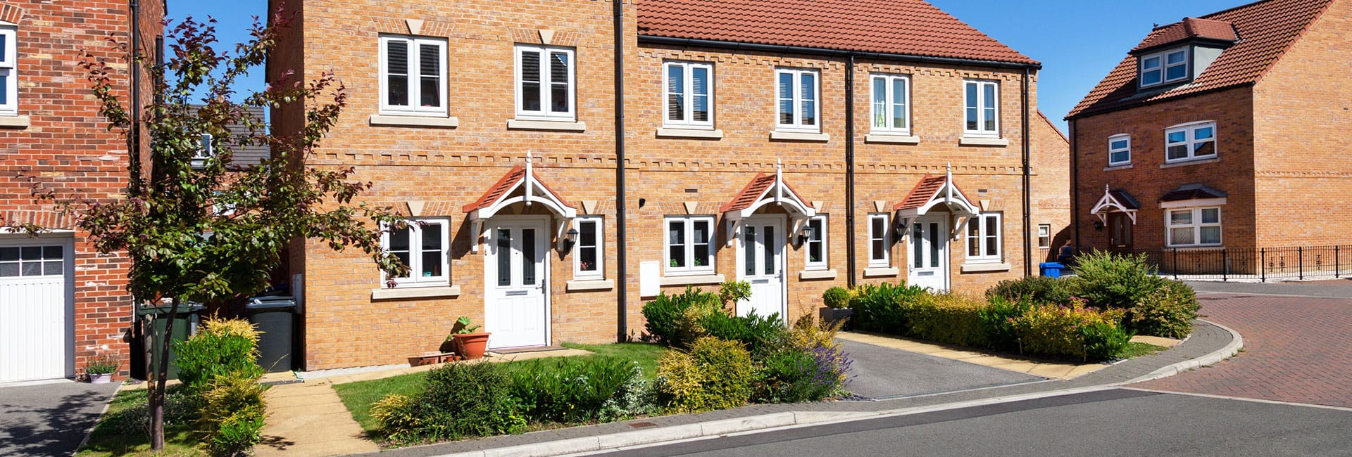 Row of new build houses - Property activity