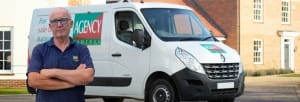 Agency Express case study. Franchisee Peter Waters with van.