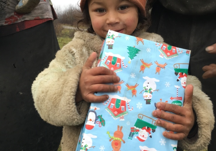 Agency Express Christmas shoebox appeal - Young boy with gift