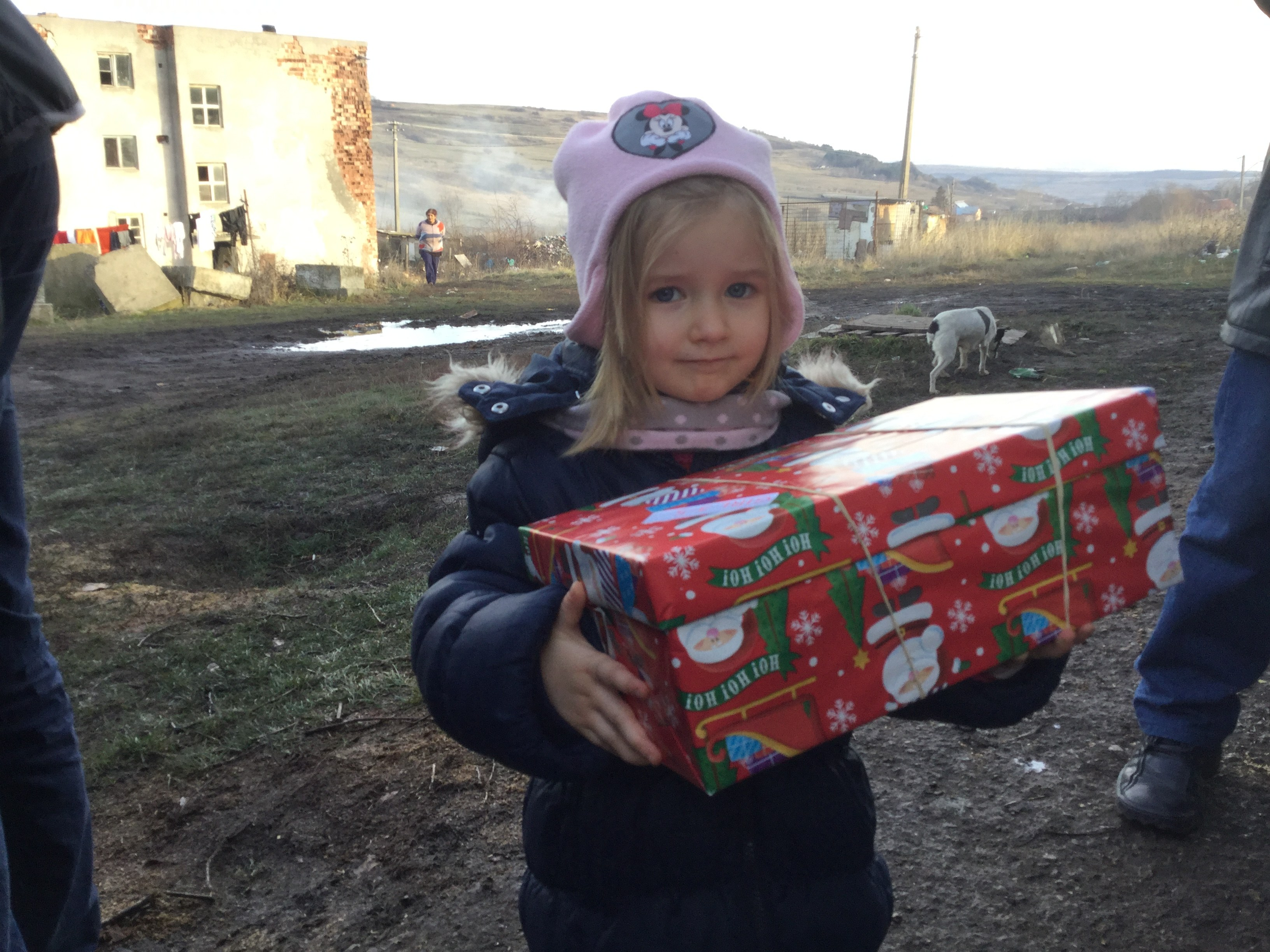 Agency Express Christmas shoebox appeal - Young girl with gift
