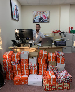 The Agency Express Christmas shoebox appeal - Boxes in the office