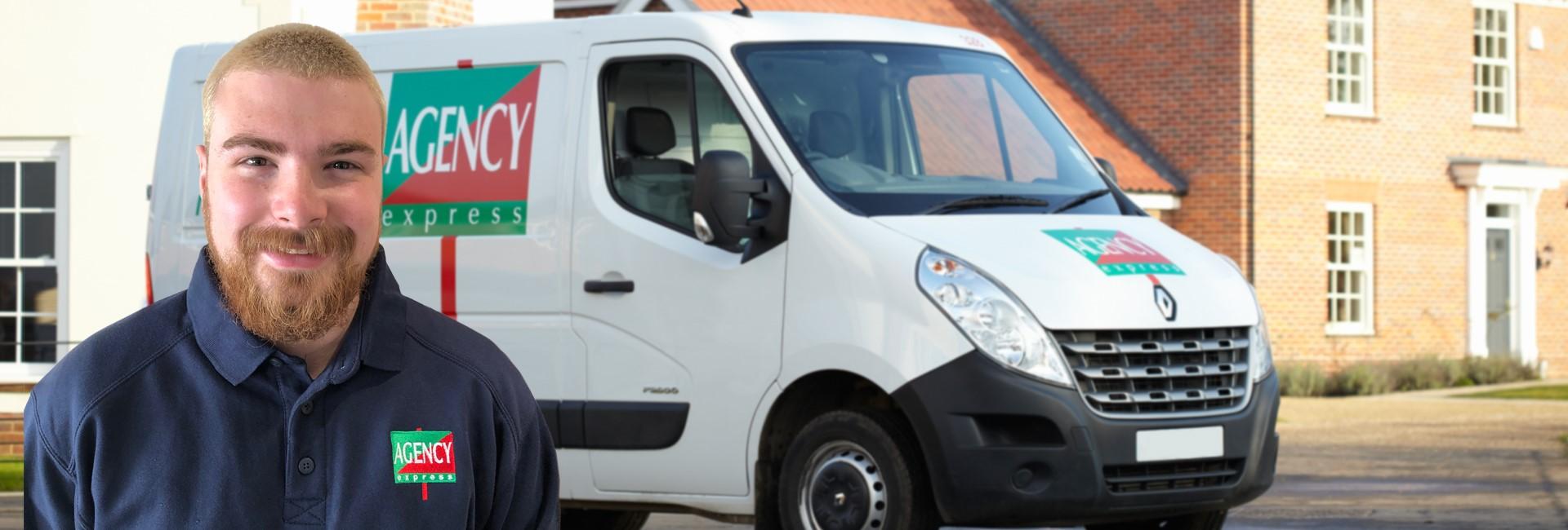 Agency Express case study. Franchisee Riccardo Mudrak with van.
