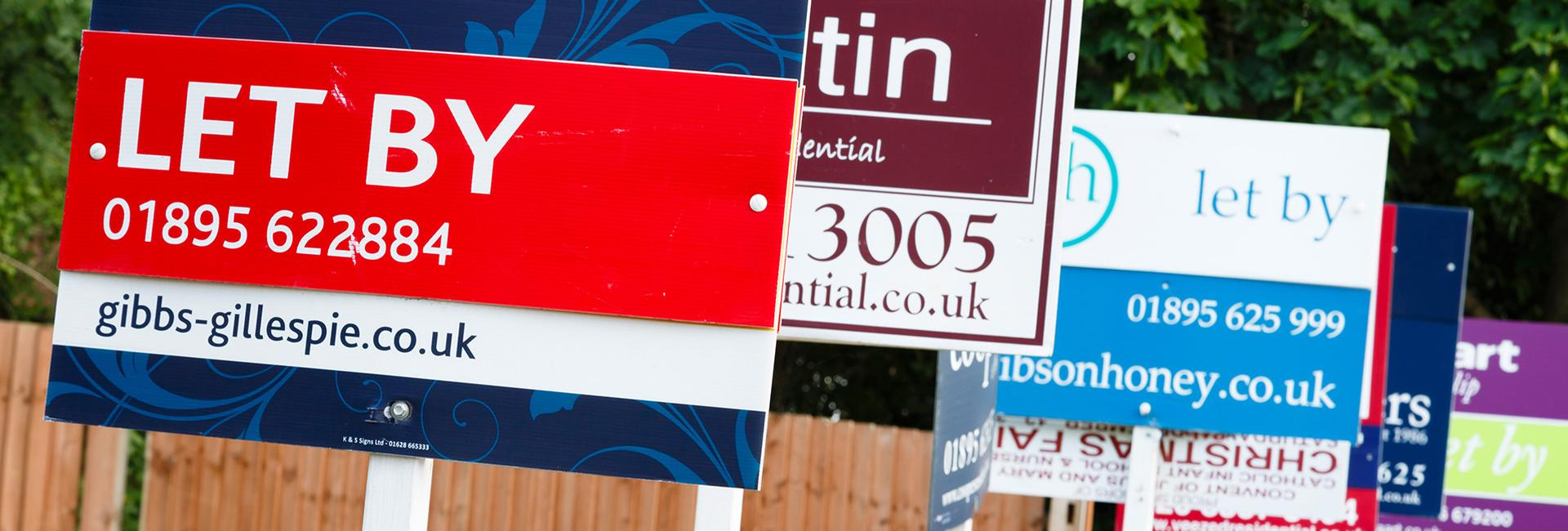 UK lettings market - To let boards